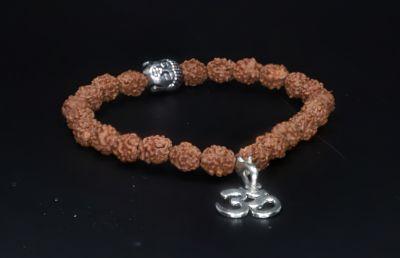 Bracelet  -4 Mukhi Rudraksh Indonesia with OM in Silver ( 21 Danne )