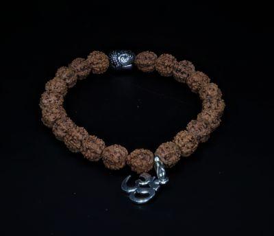 Bracelet  - 6 Mukhi Rudraksh Indonesia with OM in Silver ( 21 Danne )